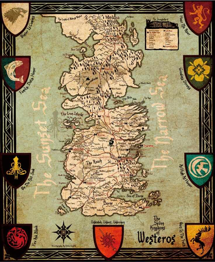 Game of Thrones Map Poster, Home Wall Décor