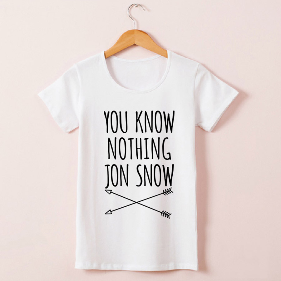New-Arrival-Womens-T-Shirt-You-Know-Nothing-Jon-Snow-Top-Tees-Games-of-Thrones-Tshirts