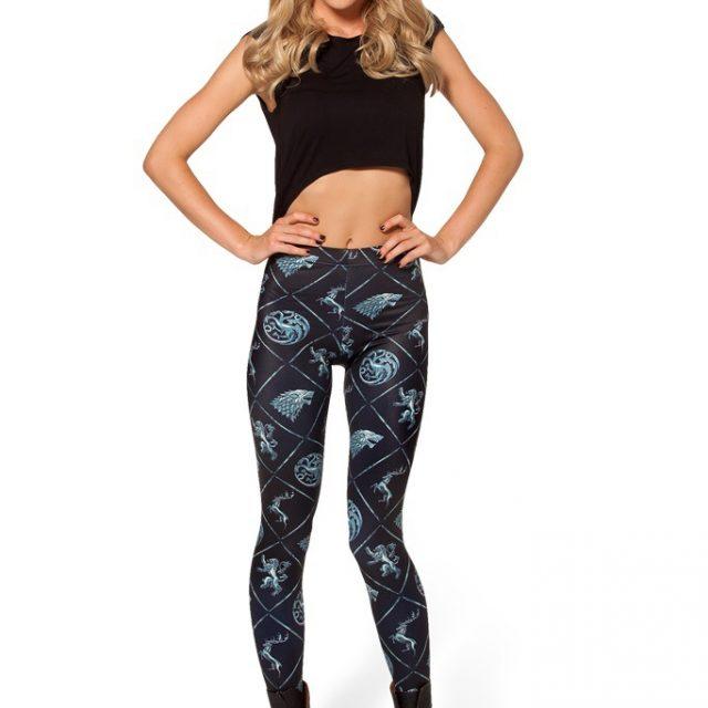 Game Of Thrones, Summer Women Fashion Geometric Print Black leggings
