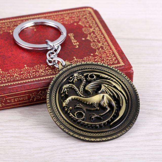 Game of Thrones, Key Chain, House Targaryen Bronze Alloy Metal