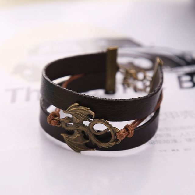 Game Of Thrones, Song Of Ice And Fire, Handmade Leather Dragon Charm, Bracelet, Vintage, Antique, Bronze