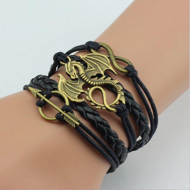 Game of Thrones, Leather Bracelet, Dragon Charm