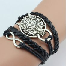 Game of Thrones, Leather Bracelet, Dragon Charm